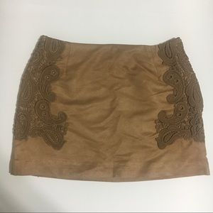 H&M Embroidered Faux Suede Mini Skirt